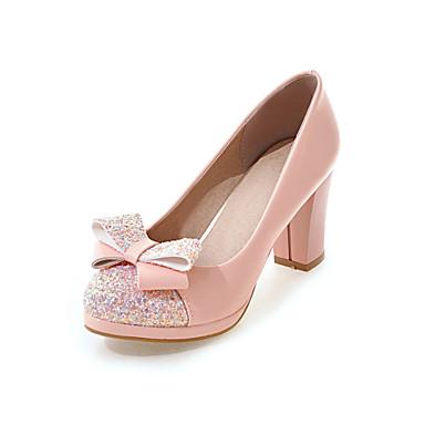 Mujer Zapatos Semicuero Otoño Confort / Innovador Tacones Tacón Cuadrado Dedo redondo Pajarita Blanco / Negro / Rosa / Fiesta y Noche Originale Vente En Ligne 7H7sjQdCU