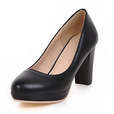 Mujer Zapatos PU Primavera / Otoño Confort / Innovador Tacones Tacón Cuadrado Dedo redondo Pajarita Beige / Azul / Rosa / Vestido I8ec8Aj7a