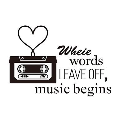 musik citater Ord & Citater Tegneserie Musik Vægklistermærker Fly  musik citater