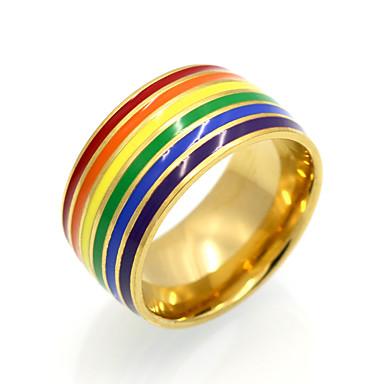 billige Motering-Herre Dame Band Ring Statement Ring Ring Gull Sølv 18K Gullbelagt Titanium Stål Rund Sirkelformet Geometrisk Form Personalisert Geometrisk Unikt design Bryllup Fest Smykker Regnbue