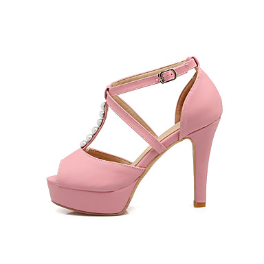 Mujer Zapatos PU Verano Pump Básico Sandalias Tacón Stiletto Puntera abierta Plateado / Azul / Rosa ByNHU