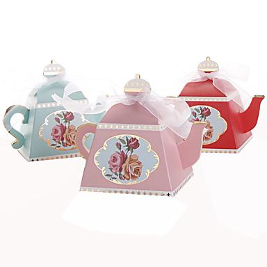 voordelige Bruiloftsbedankjes-25 stks creatieve theepot gunst box candy box party decoratie
