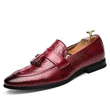 Hombre Zapatos Cuero Patentado Verano Otoño Zapatos formales Zapatos de taco bajo y Slip-On Con Cordón Para Casual Fiesta y Noche Blanco 8G6T8