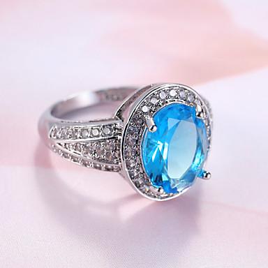 1199 Damskie Pierścionek Zaręczynowy Pierscionek Syntetyczny Sapphire Light Blue Syntetyczne Kamienie Szlachetne Cyrkonia Zaokrąglanie