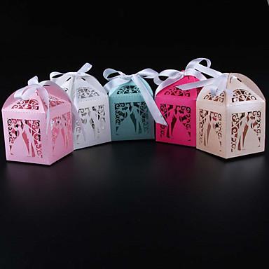 preiswerte Gastgeschenk Boxen & Verpackungen-Quader Perlenpapier Geschenke Halter mit Bänder Geschenkboxen - 50