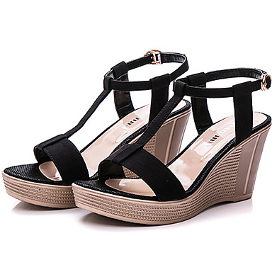 Mujer Zapatos Vellón Verano Confort Sandalias Tacón Cuadrado Negro / Verde / Almendra J5yWv