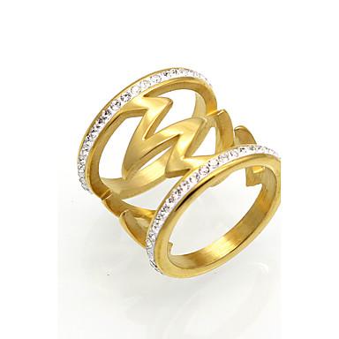 billige Motering-Herre Dame Band Ring Statement Ring Ring Kubisk Zirkonium Gull Sølv 18K Gullbelagt Kubisk Zirkonium Titanium Stål Rund Sirkelformet Geometrisk Form Statement Personalisert Geometrisk Bryllup Fest