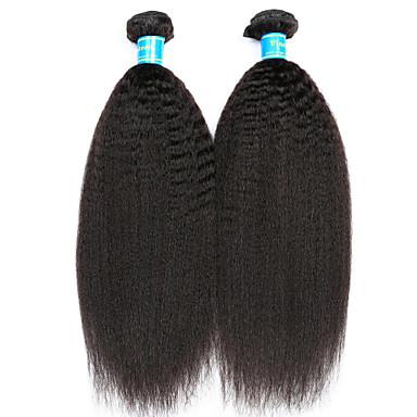 povoljno Ekstenzije od ljudske kose-2 Paketi Malezijska kosa Kinky Ravno Virgin kosa Ljudske kose plete 8-14 inch Isprepliće ljudske kose Rasprodaja Proširenja ljudske kose / 10A