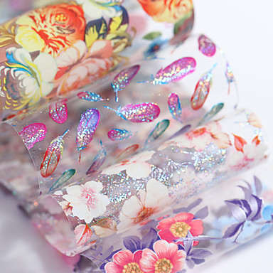 cheap Nail Stickers-holographic-flower-starry-nail-foil-4-100cm-colorful-feather-floral-transfer-sticker-manicure-nail-art-decoration