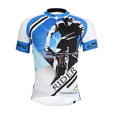 ILPALADINO Men s Short Sleeve Cycling Jersey Bike Jersey Top Quick Dry  Ultraviolet Resistant Reflective Strips Sports Polyester Coolmax® Eco-friendly  ... 78b8d2488