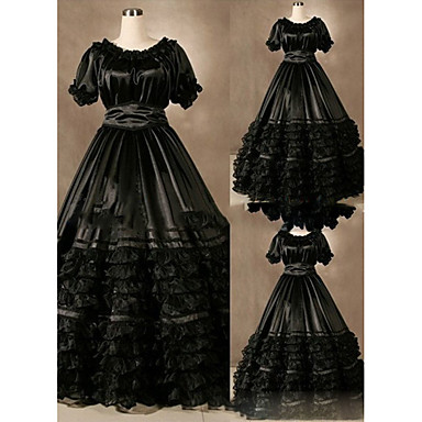 [$89.99] Gothic Victorian Medieval 18th Century Dress Party Costume  Masquerade Women\'s Satin Costume Black Vintage Cosplay Short Sleeve Floor  Length ...