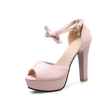 Réduction Commercialisable Mujer Zapatos PU Verano Pump Básico Sandalias Tacón Stiletto Punta abierta Pajarita Blanco / Beige / Rosa Acheter Des Photos Bon Marché De Footlocker h8GGKC