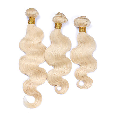 povoljno Ekstenzije od ljudske kose-Brazilska kosa Tijelo Wave Precolored kose plete 3 paketi s zatvaranjem Isprepliće ljudske kose Blonde Proširenja ljudske kose