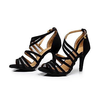 preiswerte Latein Schuhe-Damen Tanzschuhe Beflockung Schnalle Sandalen Stöckelabsatz Maßfertigung Schwarz / Praxis / EU42