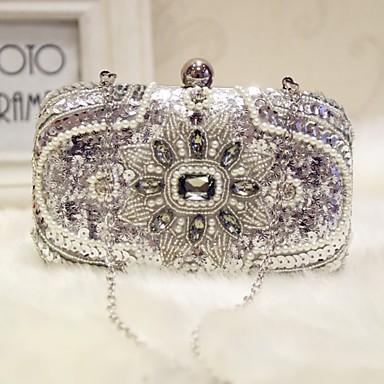 cheap L.WEST®-Women's Sparkling Glitter / Pearls Silk Evening Bag Silver