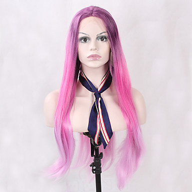 Synthetic Lace Front Wig Straight Synthetic Hair Ombre Hair / Natural Hairline Pink / Purple Wig Women's Long Lace Front Wig