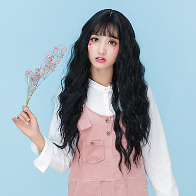 cheap Synthetic Trendy Wigs-Synthetic Wig Wavy Loose Wave Loose Wave Wavy With Bangs Wig Long Flaxen Chestnut Brown Ash Brown Brown Grey Synthetic Hair Women's With Bangs Brown Gray