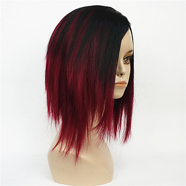 Synthetic Wig Straight Bob Haircut Middle Part Bob Black Red Women's Capless Natural Wigs Short Synthetic Hair