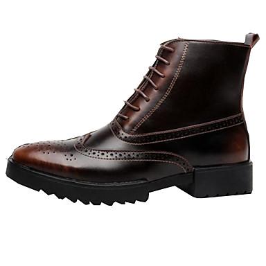 Hombre Zapatos Cuero de Napa Otoño / Invierno Botas hasta el Tobillo / Botas de Combate Botas Botines / Hasta el Tobillo Dorado / Negro / Gdb67
