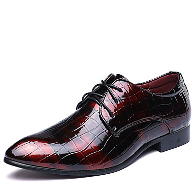 cheap Printed Shoes-Men's Formal Shoes Leather Spring / Fall British Oxfords Walking Shoes Black / Red / Blue / Wedding / Party & Evening / Split Joint / Party & Evening / Printed Oxfords
