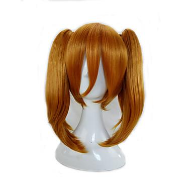 billige Kostymeparykk-Syntetiske parykker Rett Stil Med hestehale Parykk Blond Medium Lengde Oransje Syntetisk hår Dame Blond Parykk hairjoy