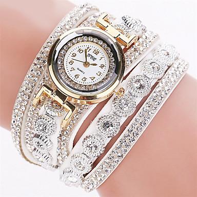 levne Dámské-Dámské dámy Luxusní hodinky Náramkové hodinky Diamond Watch Křemenný Wrap Kůže Černá / Bílá / Stříbro imitace Diamond Analogové Třpyt Módní Bling bling - Růžová Světle modrá Khaki Jeden rok Životnost