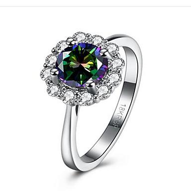 billige Motering-Dame Ring Kubisk Zirkonium Syntetisk Diamant Hvit Rustfritt Stål Kubisk Zirkonium damer Mote Gratulerer Gave Smykker simulert Blomst
