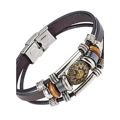 voordelige Herensieraden-Heren Lederen armbanden Natuur Modieus Leder Armband sieraden Bruin Voor Speciale gelegenheden Lahja Sport