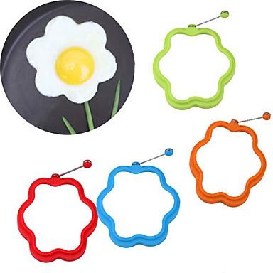 Blomformad silikonprovning ägg mögel ring frukost omelett mögel
