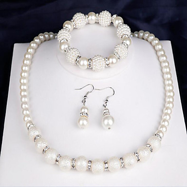 cheap Jewelry Sets-Women's Bridal Jewelry Sets Ladies Fashion Elegant everyday Pearl Earrings Jewelry White For Wedding Party Anniversary Congratulations Gift Daily