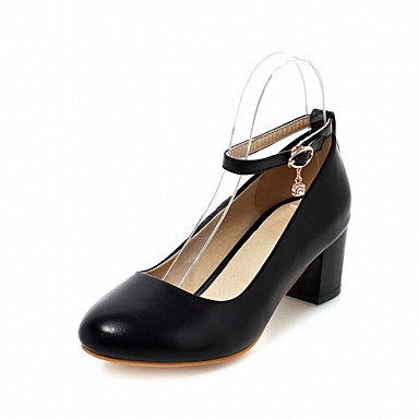 Mujer Zapatos PU Verano Mary Jane Sandalias Tacón Cuadrado Dedo redondo Hebilla Blanco / Beige / Rosa cKOShxyxw