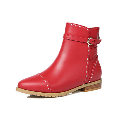 bbf26c0b1858 Women s Shoes Cowhide Fall Winter Boots Hiking Shoes Low Heel Pointed Toe  Booties Ankle Boots Buckle Zipper for Black Beige Red 5963935 2019 –  84.99