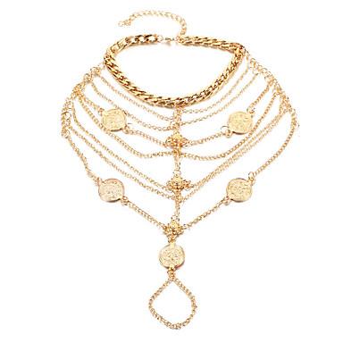 levne Dámské šperky-Dámské Yalınayak Sandaletleri Knoflíky dámy Módní turečtina Nákotník Šperky Zlatá / Stříbrná Pro Denní Ležérní Cosplay kostýmy