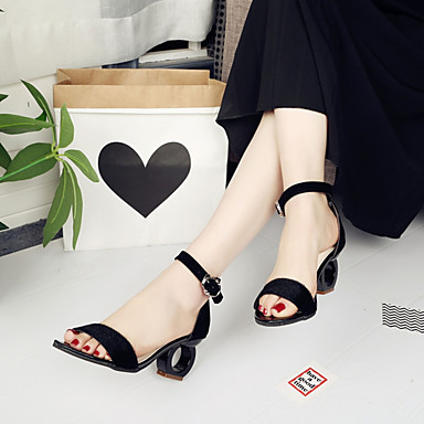 cheap Women's Sandals-Women's Sandals Spring / Summer Sculptural Heel Open Toe Buckle Suede Screen Color / Black / Yellow / EU39