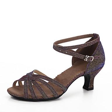 ddcbafa452f52 نسائي أحذية رقص كعب كعب مخصص مخصص أحذية الرقص بنفسجي غامق   داخلي   جلد  5942022 2019 –  22.99