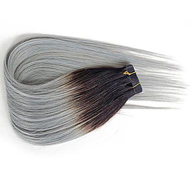 preiswerte Echthaar Haarverlängerungen-PANSY Zum Festkleben Haarverlängerungen Glatt Echthaar Echthaar Haarverlängerungen Ombre Damen Schwarzgrau