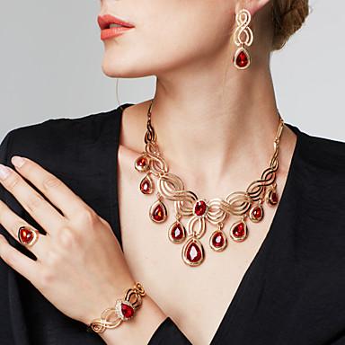 levne Dámské šperky-Dámské Synthetic Ruby Visací náušnice Prohlášení Náhrdelníky Vyzvánění Vystřižený Květinový motiv Kytky Prohlášení dámy Luxus Cikánské Módní Cikánský Pozlaceno 18k Štras Náušnice Šperky Zlatá Pro