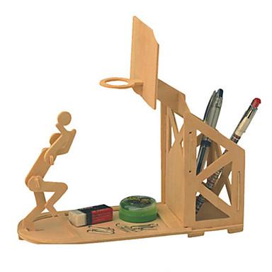 levne 3D puzzle-Wooden Pen Holder 3D puzzle Míčky Puzzle Nábytek Basketbal Udělej si sám Dřevěný Klasické Dětské Dospělé Unisex Chlapecké Dívčí Hračky Dárek / Dřevěný model