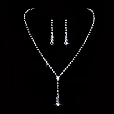 cheap Jewelry Sets-Women's AAA Cubic Zirconia Drop Earrings Choker Necklace Bridal Jewelry Sets Drop Classic Elegant Simple Style Cubic Zirconia Earrings Jewelry Silver For Wedding Anniversary Party Evening Ceremony