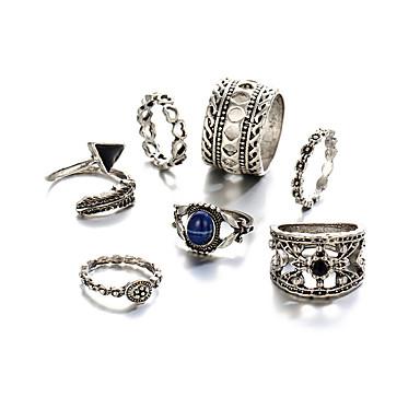 levne Pánské šperky-Dámské Prsten Sada kroužků 7ks Stříbrná Chrome Üçgen dámy Vintage Punk Párty Narozeniny Šperky Stohovatelné Srdce Kytky