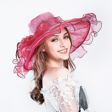 voordelige Hoeden-Veer / Zijde / Organza Kentucky Derby Hat / fascinators / hatut met Bloemen 1pc Bruiloft / Speciale gelegenheden  / Feest / Uitgaan Helm