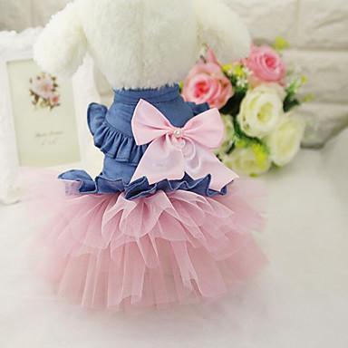 cheap Dog Clothes-Dog Dress Jeans Casual / Daily Dog Clothes White Pink Costume Chiffon Denim XS S M L XL XXL
