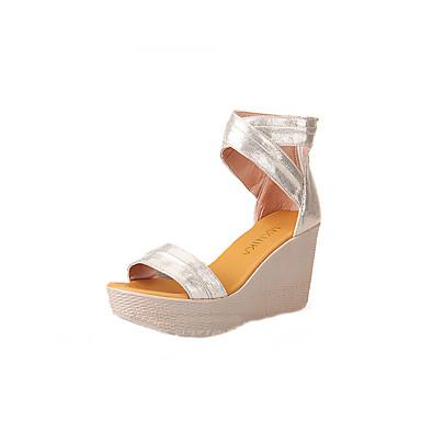 79c483acc2c7 Women s Shoes Microfiber Summer Gladiator Sandals Platform   Wedge Heel    Creepers Peep Toe Zipper Gold   Black   Party   Evening   Party   Evening    Wedge ...