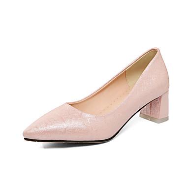 Mujer Zapatos Semicuero Primavera / Verano Confort Zapatos de taco bajo y Slip-On Media plataforma Dedo Puntiagudo Blanco / Rosa cWWrxlhcv