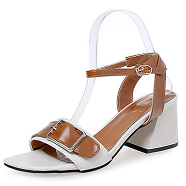 Mujer Zapatos PVC / PU Verano Confort / Innovador Sandalias Tacón Cuadrado Punta abierta Hebilla Blanco / Negro / Amarillo N3r7VuPV