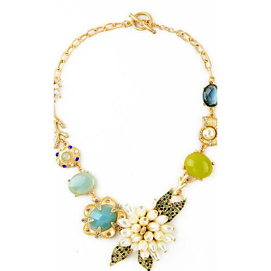 povoljno Modne ogrlice-Žene Sintetički Sapphire Izjava Ogrlice Cvijet Cvijet dame Cvijetan Jedinstven dizajn Stil cvijeta Legura Rose Gold Ogrlice Jewelry Za Rođendan Party / večernja odjeća Zabava / večer Angažman