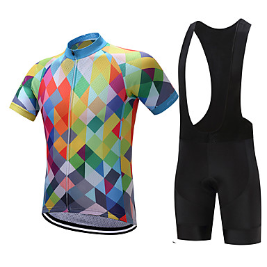 9a1c5f90d FUALRNY® Men s Short Sleeve Cycling Jersey with Bib Shorts - Yellow Sky  Blue Red Argyle Bike Clothing Suit Quick Dry Sweat-wicking Sports Polyester  Coolmax® ...