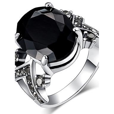 billige Motering-Dame Statement Ring Ring Onyks Krystall Svart Rød Blå Harpiks Strass Chrome Statement damer Personalisert Jul Julegaver Smykker Solitaire Oval simulert