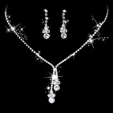 povoljno Komplet nakita-Žene Kubični Zirconia Viseće naušnice Choker oglice Svadbeni nakit Setovi Ispustiti Simple Style Elegantno Kubični Zirconia Srebrna Naušnice Jewelry Pink Za Vjenčanje godišnjica Party / večernja