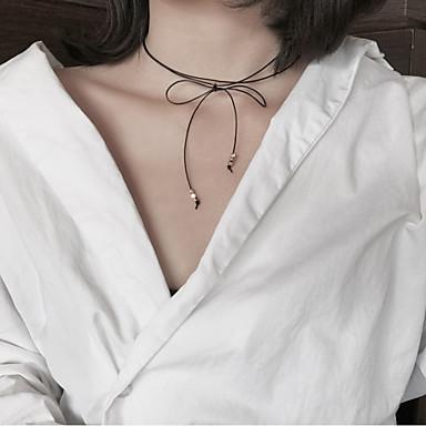 povoljno Modne ogrlice-Žene Choker oglice Mašnice Vintage Moda Euramerican PU Crn Ogrlice Jewelry Za Party